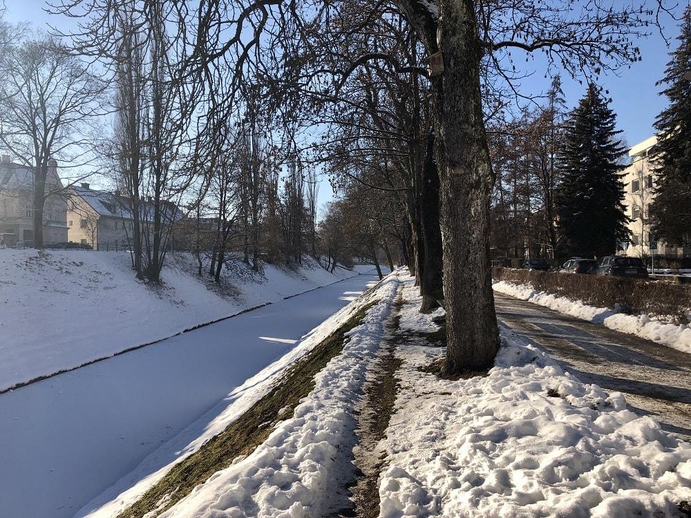 Lendkanal, Winter 9020 Klagenfurt am Wörthersee, Laufstrecke, Winterfitness, Outdooraktivitäten, Sport